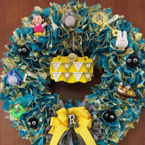My mom made this baby wreath for Vera.
